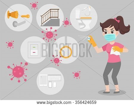Woman Wearing A Surgical Protective Medical Mask For Prevent Virus Spraying Alcohol Spray Kill Virus