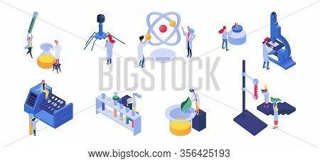 Isometric Nano Technology And Science People Vector Illustration. Nanotechnology Development, Cartoo
