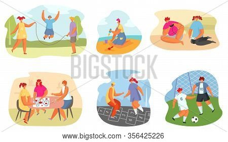 Kids Playing Game Vector Illustration. Teen Girl And Boy Having Fun Together In Various Sport Activi
