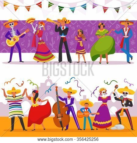 Mexican Party People Vector Illustrations. Cartoon Woman Man Characters Wear Traditional Mexico Dres
