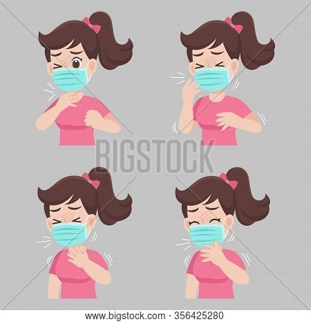 Woman With Different Diseases Symptoms - Fever, Cough, Sore Throat. Wearing A Surgical Protective Me