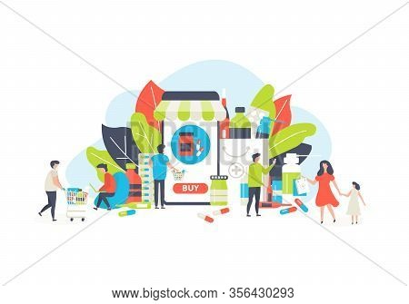 Online Pharmacy Medicine Vector Illustration. Medical Service For Doctor Consultation, Tiny People B