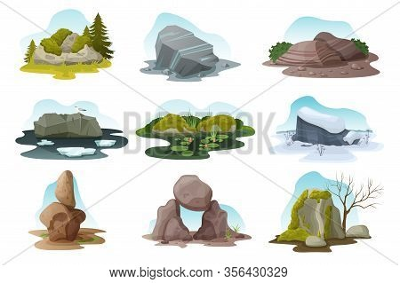 Boulder And Rock Stone Isolated Vector Illustration Set. Cartoon Different Pile Of Multicolored Text