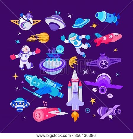 Cartoon Space And Spaceship Vector Illustrations. Comic Spaceman Smiling And Waving, People In Space