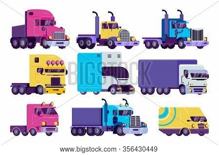 Cartoon Truck Vector Illustration Set. Flat Colorful Semi Autotruck, Van, Big Lorry, Heavy Vehicle T