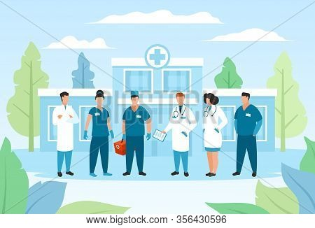 Doctor Group In Hospital, Healthcare Vector Illustration. Cartoon Staff Medical Character, Man Woman