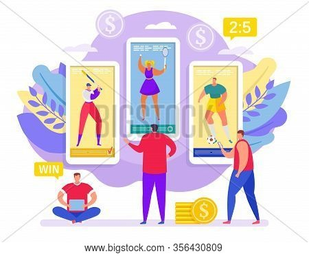 Betting Sport Online, Bets On Sport Tiny People Win In Smartphone Cartoon Vector Illustration. Onlin