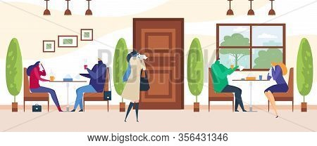 Cold And Virus, Flu With Sick Woman And Man Having Sickness With Hot Drink And Handkerchief Cartoon
