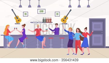 Friends And People At Bar Drinking And Having Fun, Dancing Cartoon Vector Illustration. Friendly Bar