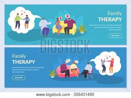 Family Therapy, Psychotherapy, Couple Husband And Wife Talking To Psychologist, Vector Illustrations