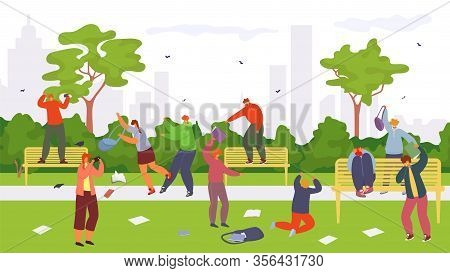 Teenagers Bullying Vector Illustration. People Bully Group Of Cruelty Pupils Or Student Attack Guy,