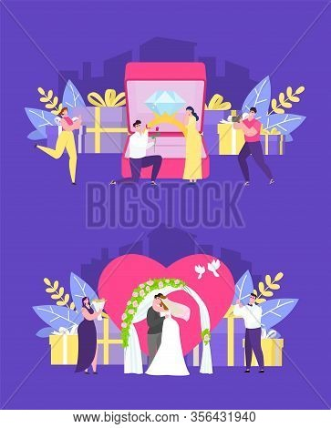Wedding Ceremony People Vector Illustration. Romantic Trip For Newlywed Couple. Bride And Groom Stan