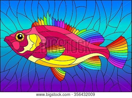 Illustration In Stained Glass Style With Abstract Bright Fish On Blue Background