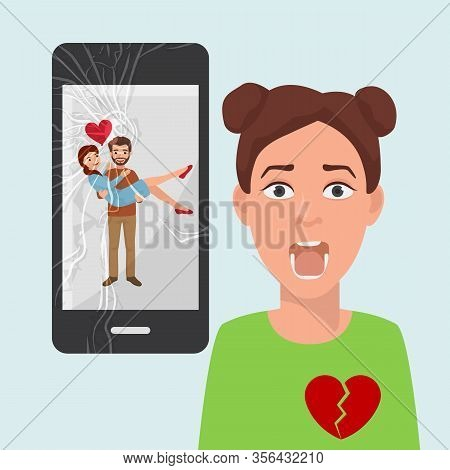 Sad Girl With Broken Heart Because Of Boyfriends Photo With Another Woman On Social Media Vector Ill