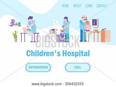 Doctors For Children In Hospital Or Medical Clinic Vector Illustration Set Website. Different Doctor