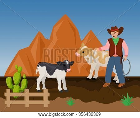 Cowboy On Ranch Vector Illustration Of Wild West Hand Drawn. Young Cheerful Man In Cowboy Hat, With