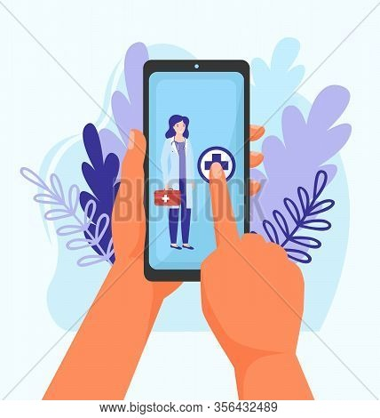Doctor Call Online Service Vector Illustration Concept. Healthcare By Mobile Phone, Call To Medical
