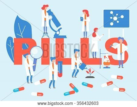 Pills Laboratory With Doctors Group Vector Illustration. Doctors Research On Pharmacological Drugs M