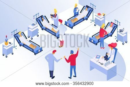 Medicine In Hospital, Treatment With Doctors And Patients During Medics Examination Vector Illustrat