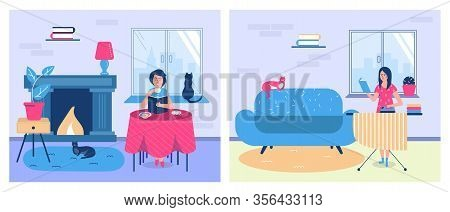 People Reading Books And Education At Home, Women With Textbooks While Doing Homework Vector Lineart