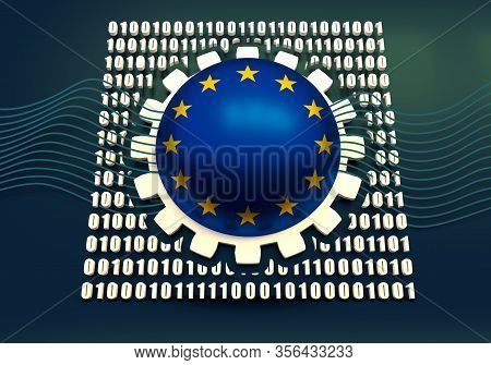 Binary Code Background With Gear And Flag Of The European Union. Algorithm Binary, Data Code, Decryp