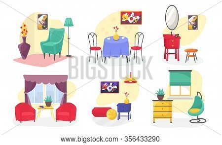 Room Furniture Modern Interior Set Cartoon Vector Illustrations Isolated On White. Armchairs, Table,