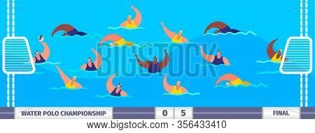 Water Polo Athlete Players Sportsmen In Pool Championship Vector Illustration. Swimmer Players. Wate