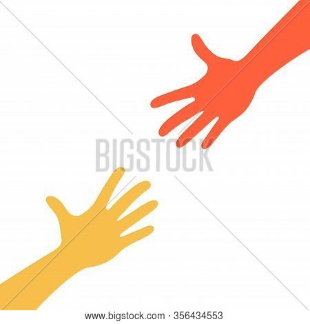 Two Hands Reaching To Each Other. Helping Hand. Close Up Body Part. Love Relationship Teamwork Toget