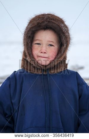 A Resident Of The Tundra, Indigenous Residents Of The Far North, Tundra, Open Area, Children Ride On