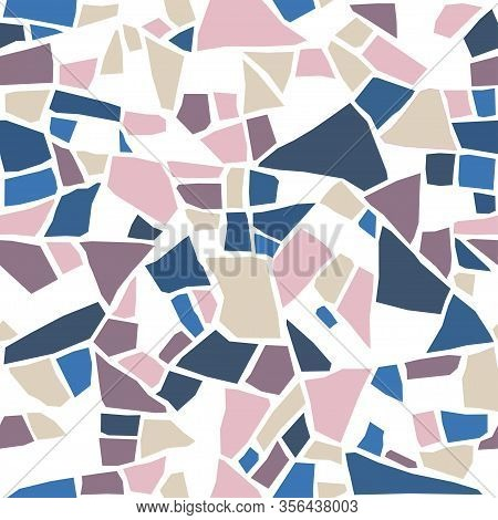 Terrazzo Seamless Pattern. Colored Stones. Vector Abstract Colorful Background With Chaotic Polished