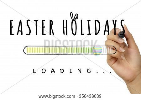 Female Hand Writing Easter Holidays Doodle With Decorative Egg Loading Bar On White Background - Spr