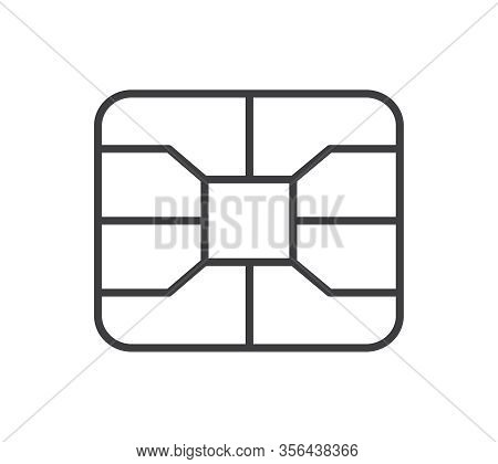 Credit Card Emv Chip Symbol. Digital Nfc Payment Technology. Microchip For Banking Card.
