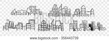 Hand Drawn Buildings Set Collection. Various Pen Or Pencil, Ink Hand Drawn Buildings. Sketch Of Diff