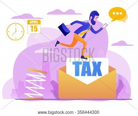 Business Jumping From Spring Through Taxes. Concept Of Lower Tax. Design Element For Banner, Poster,