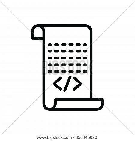 Black Line Icon For Script Certification Document Manuscript Message Receipt Paper Scroll