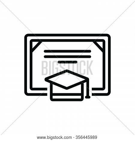 Black Line Icon For Degree Certificate Bachelor Graduation-cap Cap Achievement Academic Diploma Educ