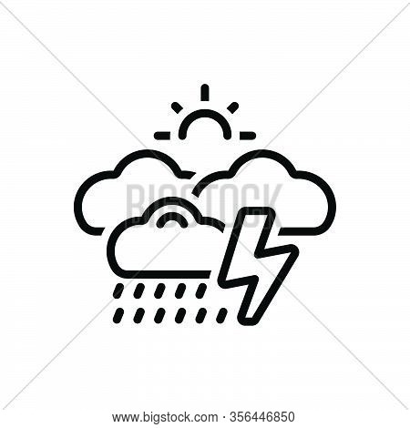 Black Line Icon For Whether Rumble Storm Thunder Burr Rumble Rainfall Raindrops Wet-weather Drizzle