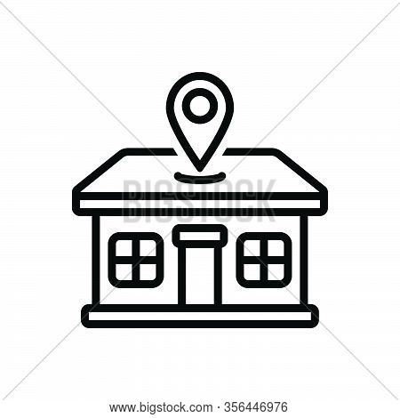 Black Line Icon For Address Location Home Abode Direction Domicile Dwelling Lodging Whereabouts