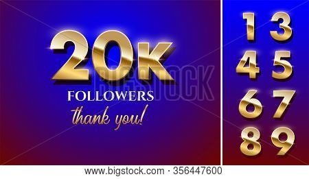 20000 Followers Celebration Vector Banner With Text And Numbers Set. Social Media Achievement Poster