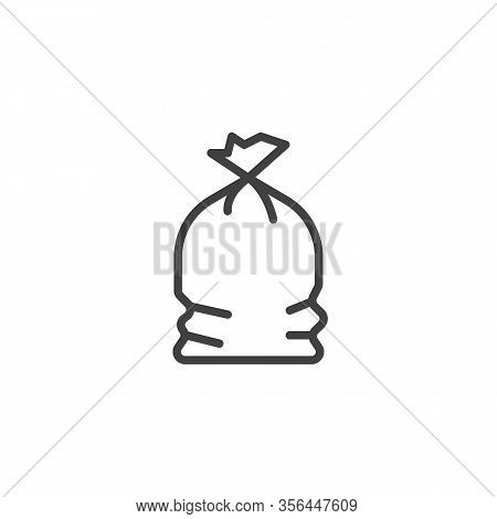 Plastic Garbage Bag Line Icon. Linear Style Sign For Mobile Concept And Web Design. Full Trash Bag O