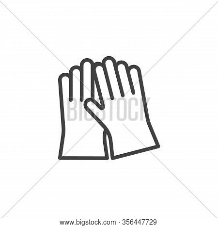 Cleaning Gloves Line Icon. Linear Style Sign For Mobile Concept And Web Design. Protective Gloves Ou