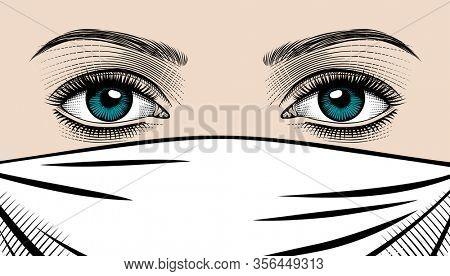 Eyes of a beautiful woman in a medical mask. COVID-19 coronavirus. Corona virus quarantine. People defend virus. Vintage engraving stylized drawing.
