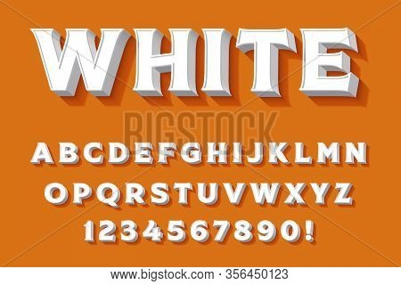 Modern 3D White Alphabet Letters, Numbers And Symbols. Sweet Typography . Vector