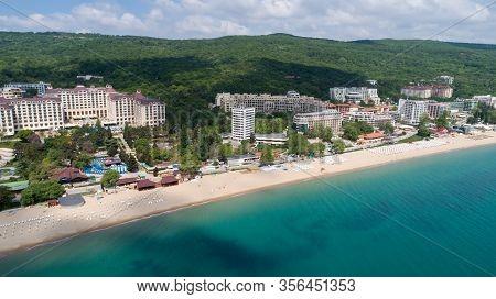 Aerial View Of The Beach And Hotels In Golden Sands, Zlatni Piasaci. Popular Summer Resort Near Varn