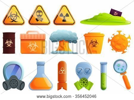 Biohazard Icons Set. Cartoon Set Of Biohazard Vector Icons For Web Design