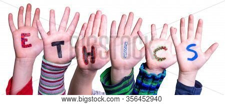 Children Hands Building Word Ethics, Isolated Background