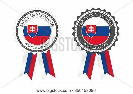 Two Modern Vector Made In Slovakia Labels Isolated On White Background, Simple Stickers In Slovak Co