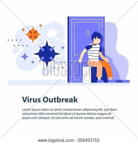 Virus Outbreak Concept, Respiratory Disease Epidemic, Flue Risk Seasonal Period, Precaution Or Preve