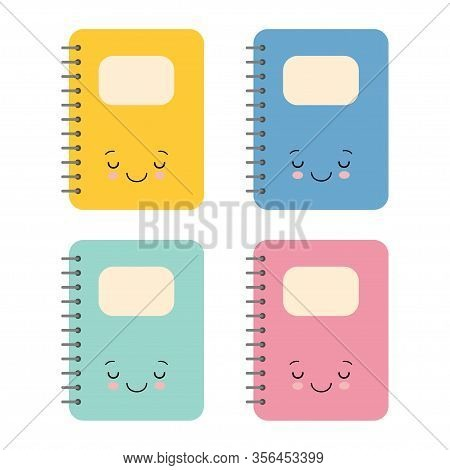 Cute Colorful Notebook Cartoon Design, Kawaii School Expression Cute Character Funny And Emoticon Th