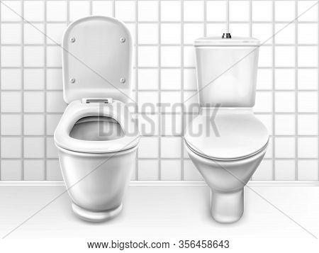 Toilet With Seat, Ceramic Lavatory Bowl With Closed And Open Lid Front View On White Tiled Wall Back